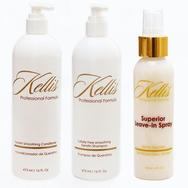 Keratin Sulfate-Free Shampoo and Smoothing Conditioner and Leave-in Conditioner