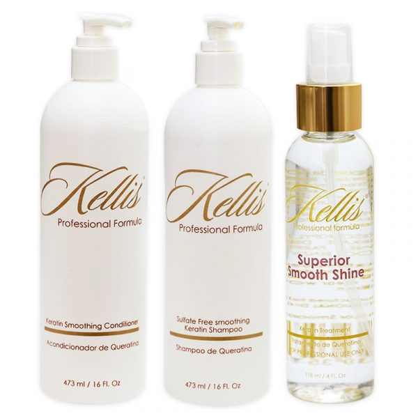 Keratin Sulfate-Free Shampoo, Keratin Smoothing Conditioner and Smooth Silky Shine Bundle by Kellis Professional